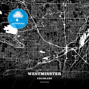 Black map poster template of Westminster, Colorado, USA - HEBSTREITS