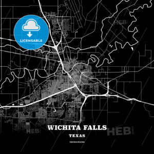 Black map poster template of Wichita Falls, Texas - HEBSTREITS