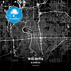 Black map poster template of Wichita, Kansas - HEBSTREITS