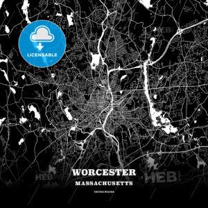Black map poster template of Worcester, Massachusetts - HEBSTREITS