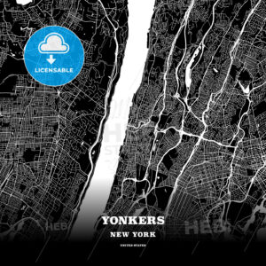 Black map poster template of Yonkers, New York - HEBSTREITS
