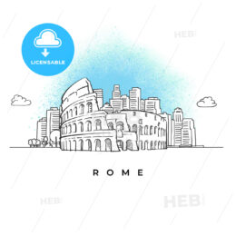 City skyline with Coliseum in Rome