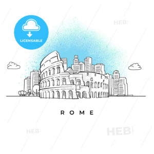 City skyline with Coliseum in Rome - HEBSTREITS