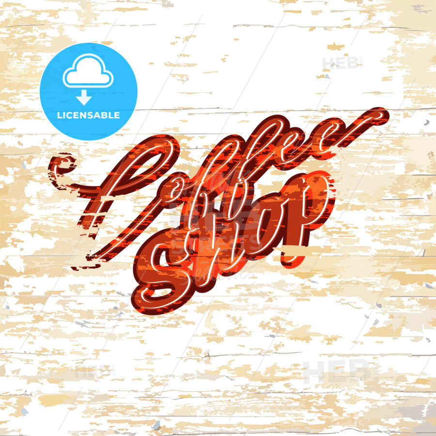 Coffee shop lettering on wooden background - HEBSTREITS