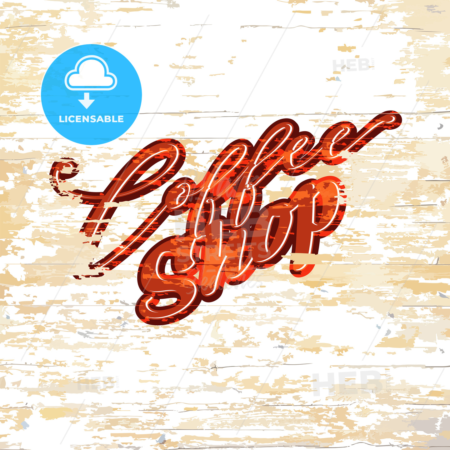 Coffee shop lettering on wooden background