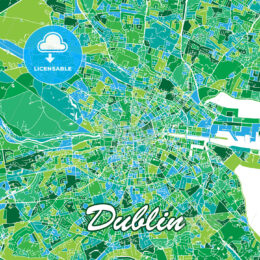 Colorful Dublin Map