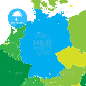Colorful map of Germany - HEBSTREITS