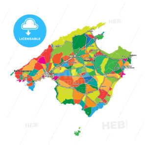 Colorful map of Majorca - HEBSTREITS