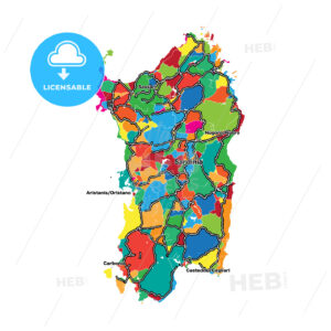 Colorful map of Sardinia - HEBSTREITS