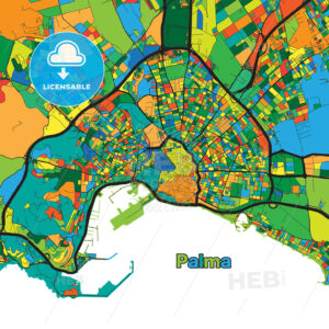 Colorful street map of Palma - HEBSTREITS