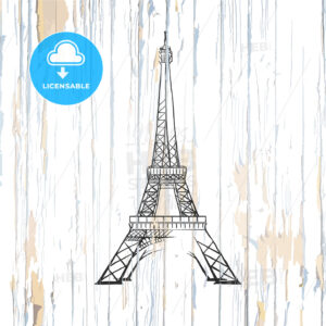 Eiffel tower drawing on wood - HEBSTREITS