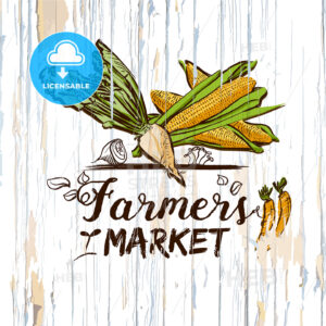 Farmers market illustration on wood - HEBSTREITS