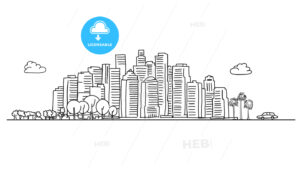Generic City Skyline with various trees - HEBSTREITS