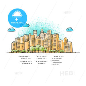 Hand drawn and colored Generic City Skyline - HEBSTREITS