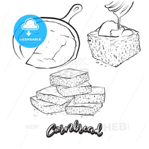 Hand drawn sketch of Cornbread bread - HEBSTREITS