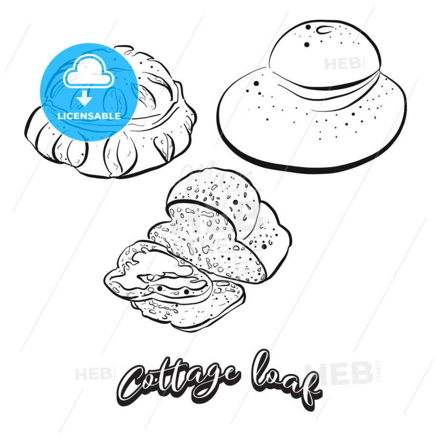 Hand drawn sketch of Cottage loaf bread - HEBSTREITS
