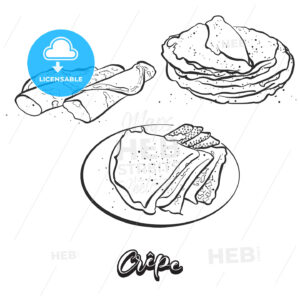 Hand drawn sketch of Crêpe bread - HEBSTREITS