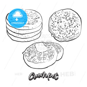 Hand drawn sketch of Crumpet bread - HEBSTREITS