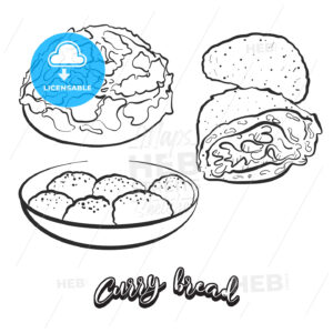 Hand drawn sketch of Curry bread bread - HEBSTREITS
