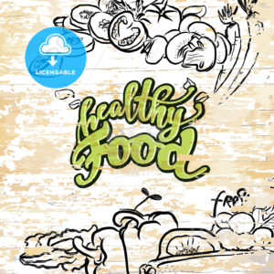 Healthy food drawing on wooden background - HEBSTREITS