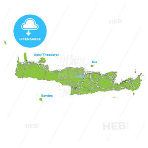 Island map of Crete - HEBSTREITS