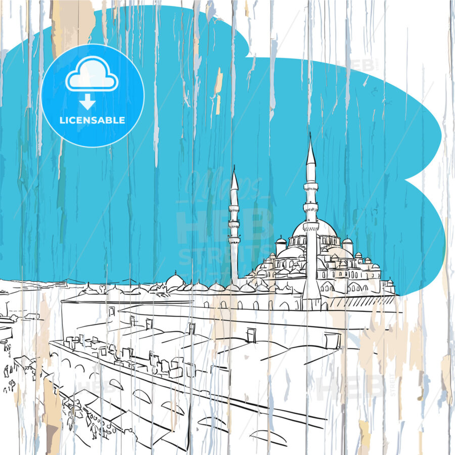 Istanbul drawing on wood - HEBSTREITS