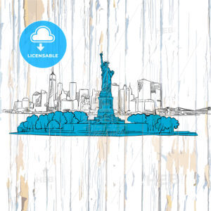 Liberty island sketch on wooden background - HEBSTREITS