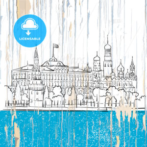 Moscow kremlin drawing on wood - HEBSTREITS