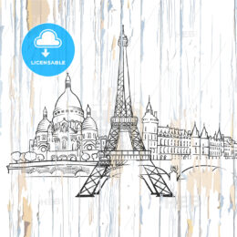 Paris drawing on wood