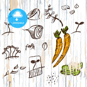 Sketched vegetables menu background - HEBSTREITS