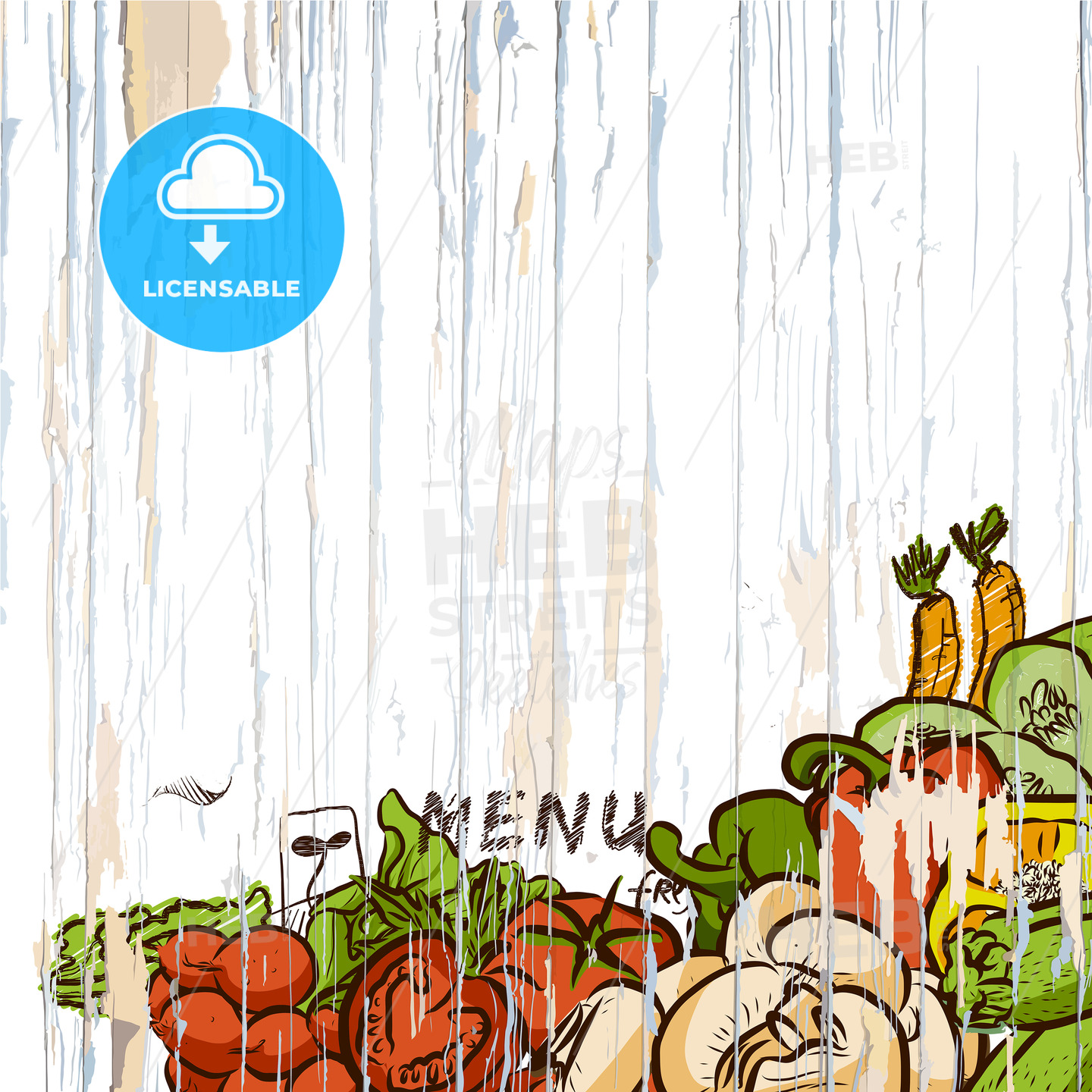 Vegetables on wood menu background