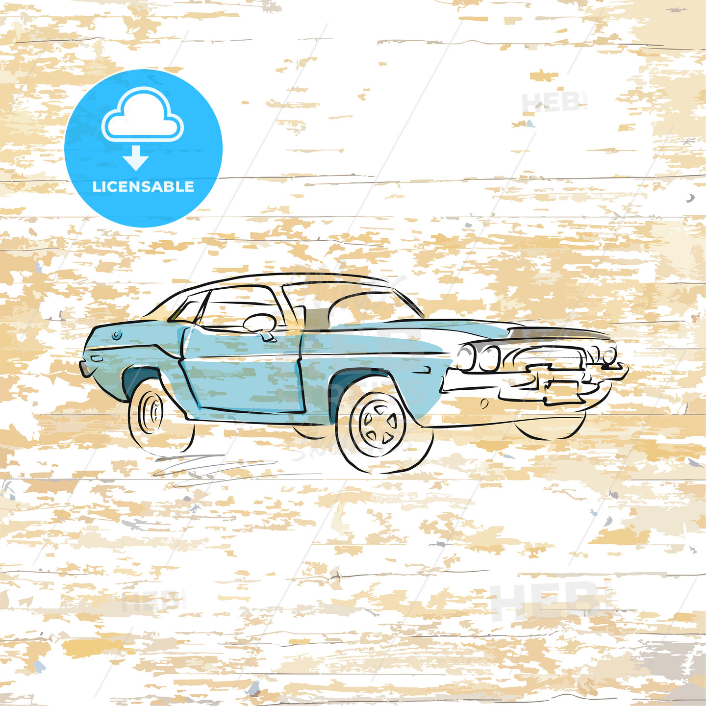 Vintage car drawing on wooden background