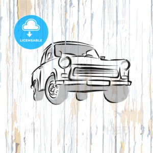 Vintage german car on wooden background - HEBSTREITS
