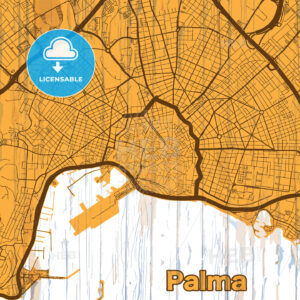 Vintage map of Palma, Spain - HEBSTREITS