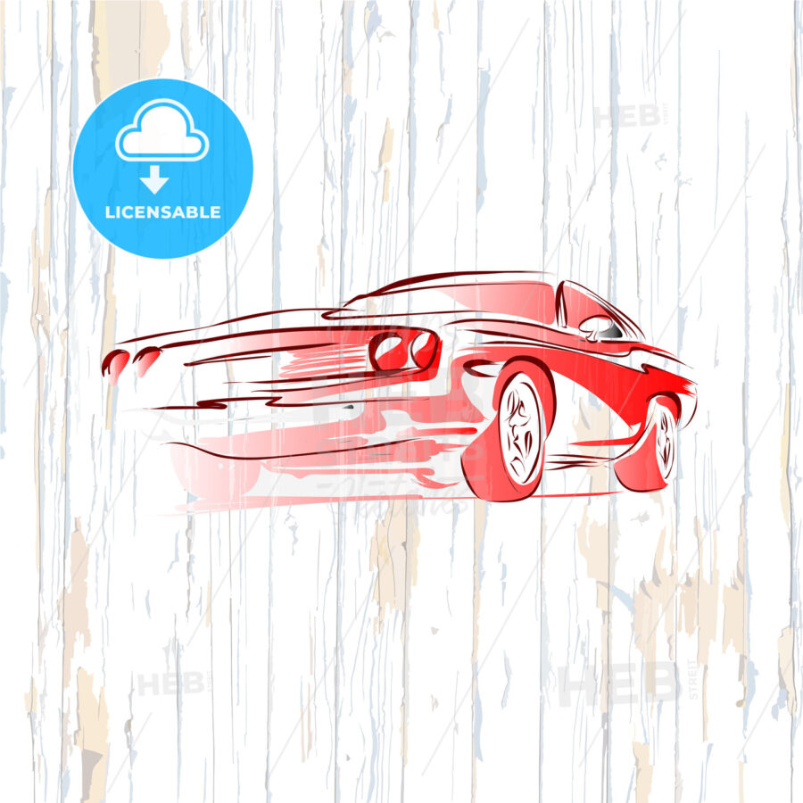 Vintage muscle car drawing on wooden background - HEBSTREITS