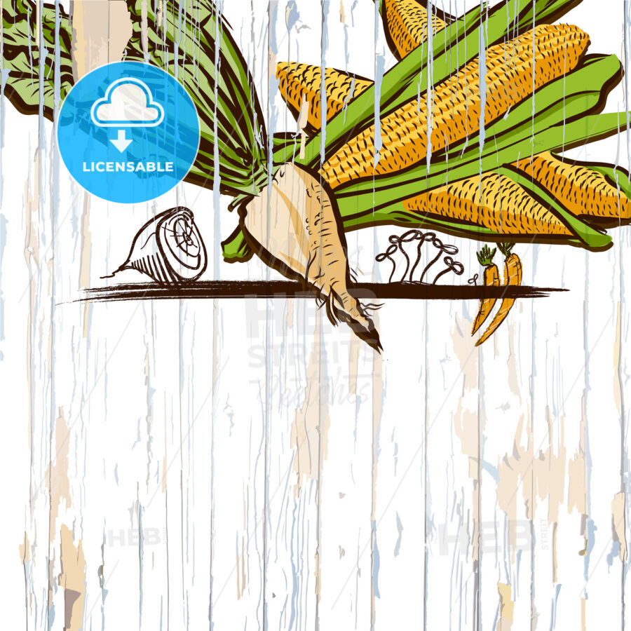 corn on wood menu background - HEBSTREITS