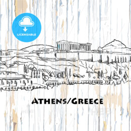 vintage athens skyline drawing
