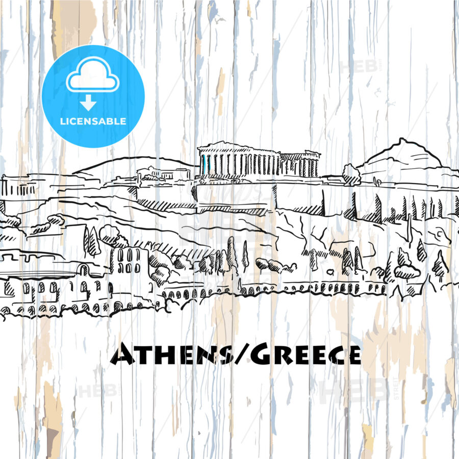 vintage athens skyline drawing - HEBSTREITS