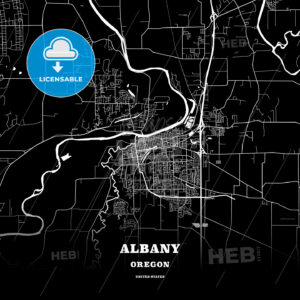 Black map poster template of Albany, Oregon, USA - HEBSTREITS