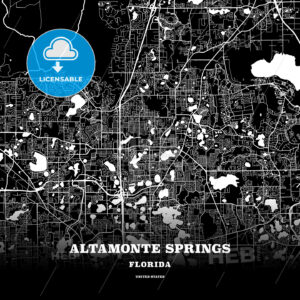 Black map poster template of Altamonte Springs, Florida, USA - HEBSTREITS