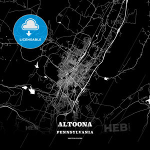 Black map poster template of Altoona, Pennsylvania, USA - HEBSTREITS