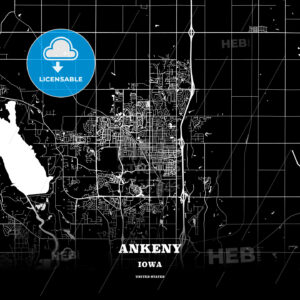 Black map poster template of Ankeny, Iowa, USA - HEBSTREITS
