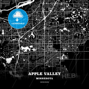 Black map poster template of Apple Valley, Minnesota, USA - HEBSTREITS