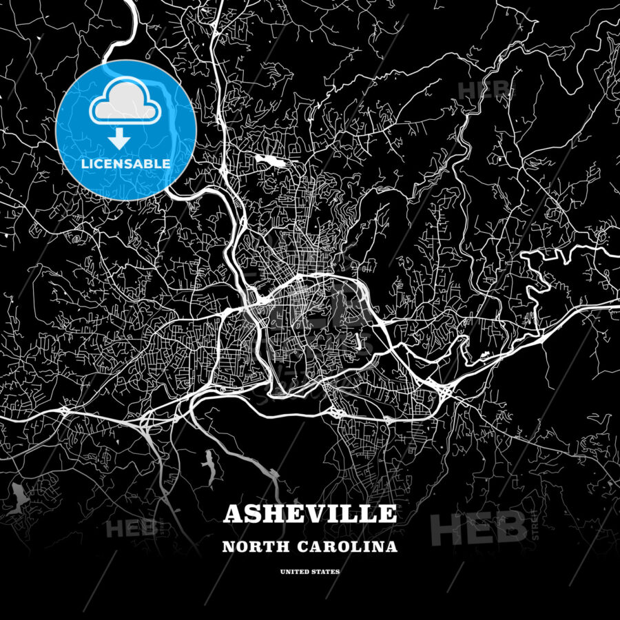 Black map poster template of Asheville, North Carolina, USA - HEBSTREITS