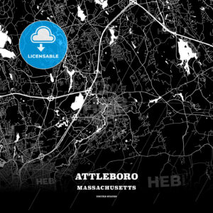 Black map poster template of Attleboro, Massachusetts, USA - HEBSTREITS