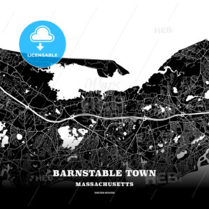 Black map poster template of Barnstable Town, Massachusetts, USA - HEBSTREITS