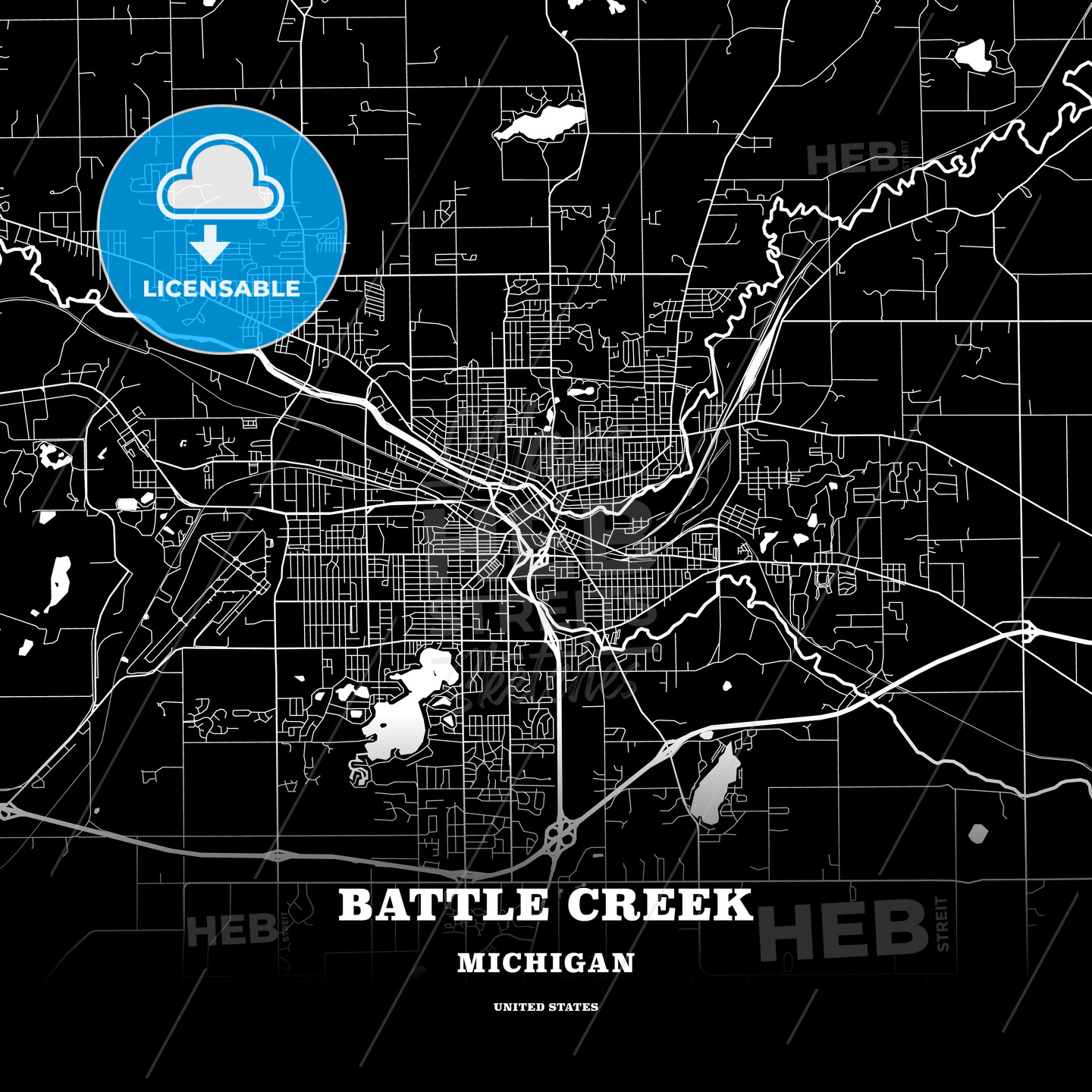 Black Map Poster Template Of Battle Creek Michigan Usa Hebstreits