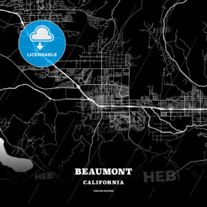 Black map poster template of Beaumont, California, USA - HEBSTREITS