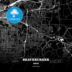 Black map poster template of Beavercreek, Ohio, USA - HEBSTREITS