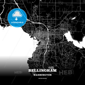 Black map poster template of Bellingham, Washington, USA - HEBSTREITS